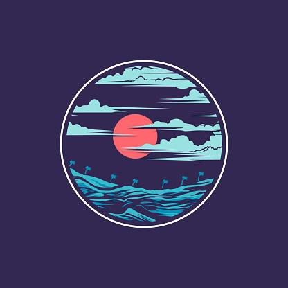 Beach Night Scenery T-Shirt Design Illustration