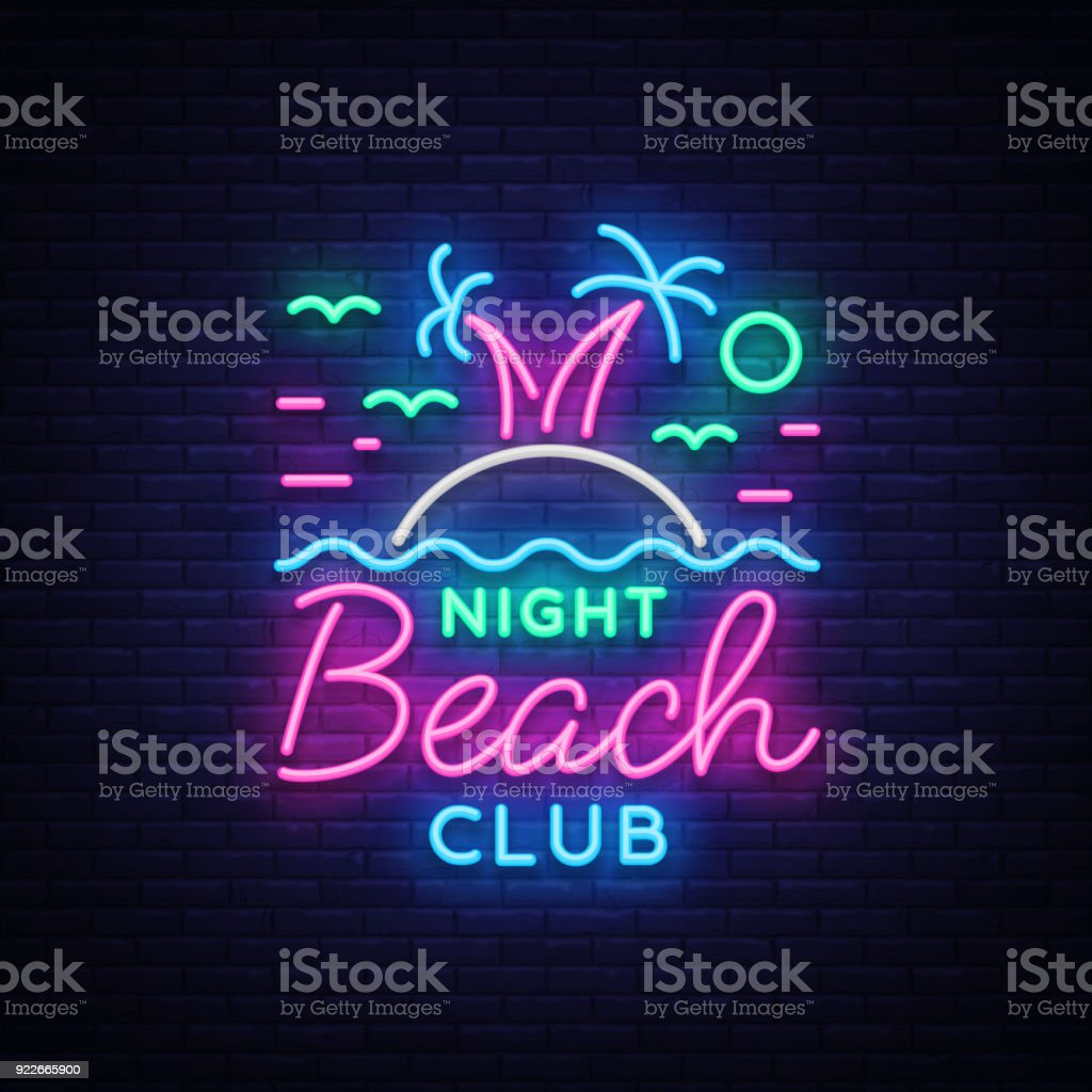 beach nightclub neon sign logo in neon style symbol design template