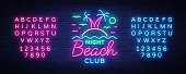 Beach nightclub neon sign. Logo in Neon Style, Symbol, Design Template for Nightclub, Night Party Advertising, Discos, Celebration. Neon banner. Summer. Vector illustration. Editing text neon sign.