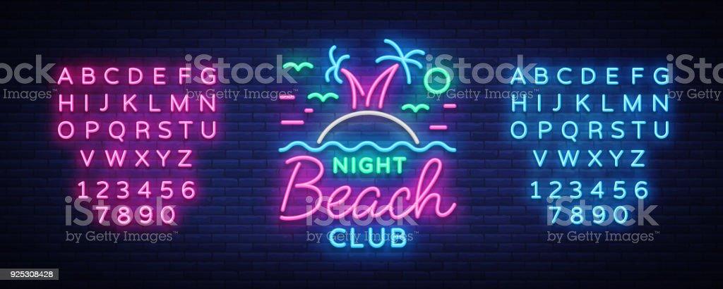 Beach nightclub neon sign. Logo in Neon Style, Symbol, Design Template for Nightclub, Night Party Advertising, Discos, Celebration. Neon banner. Summer. Vector illustration. Editing text neon sign vector art illustration