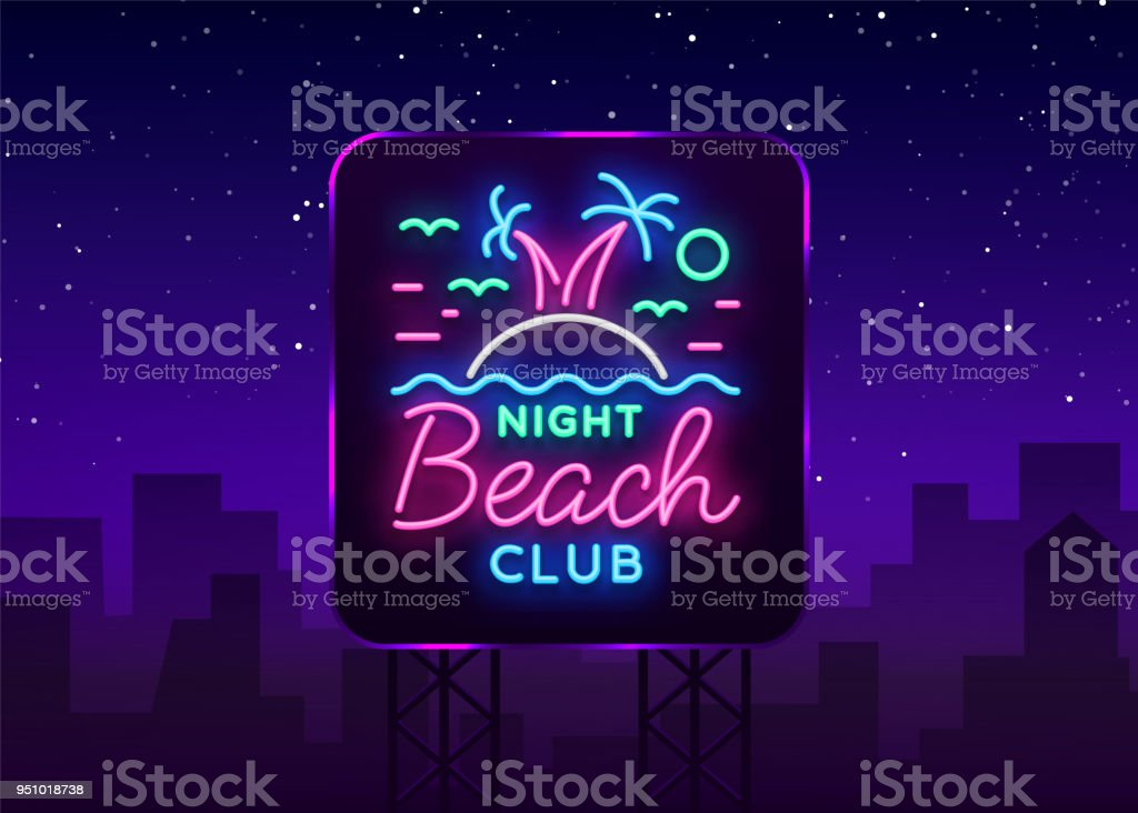 Vetores de Sinal De Néon De Boate Praia Logotipo Em Estilo