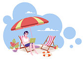 Freelancer on the beach working