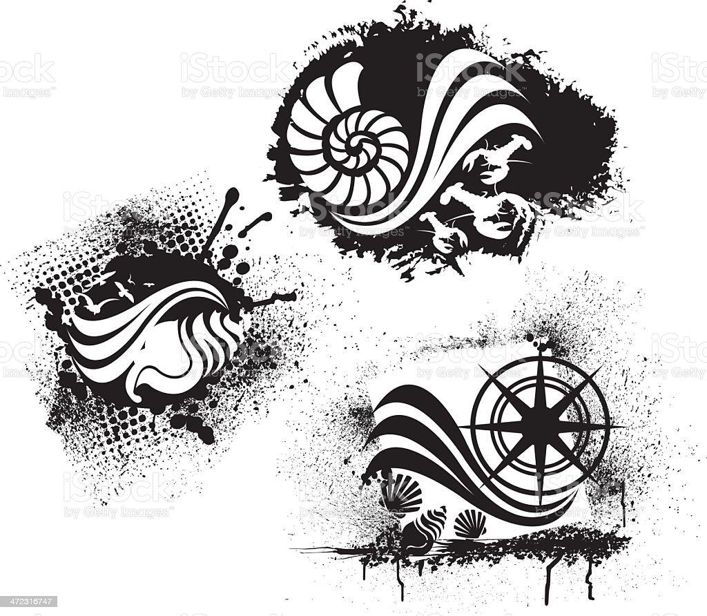 Strand Oder Nautische Grunge Designseashell Kompass Hummer Stock