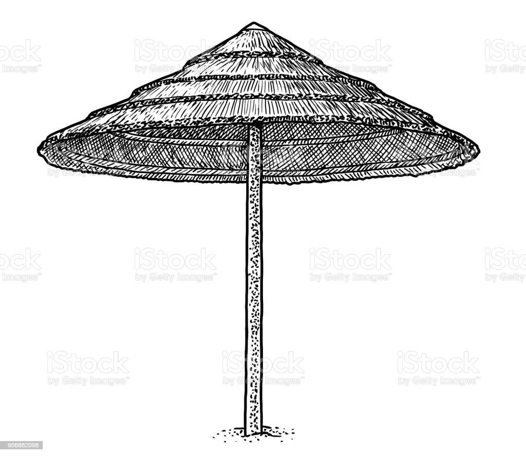 Illustration de parapluie de feuilles palm beach dessin gravure encre dessin au