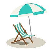 istock Beach parasol and beach chair 1140762384