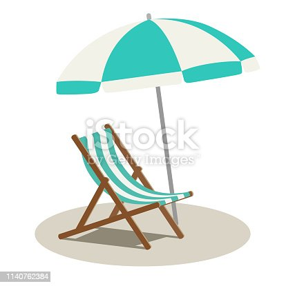 Beach parasol and beach chair