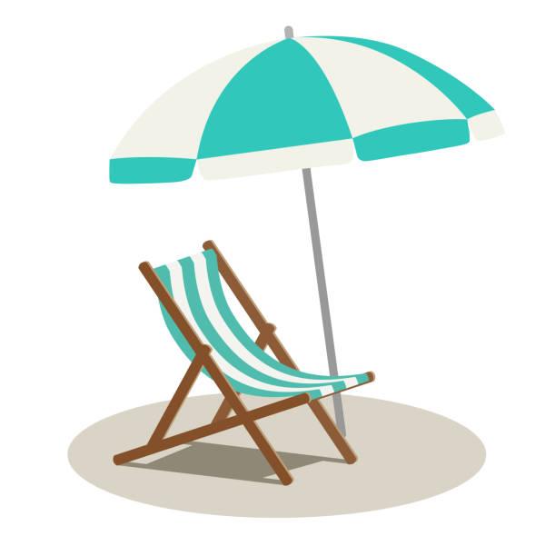 Beach parasol and beach chair Beach parasol and beach chair beach icons stock illustrations
