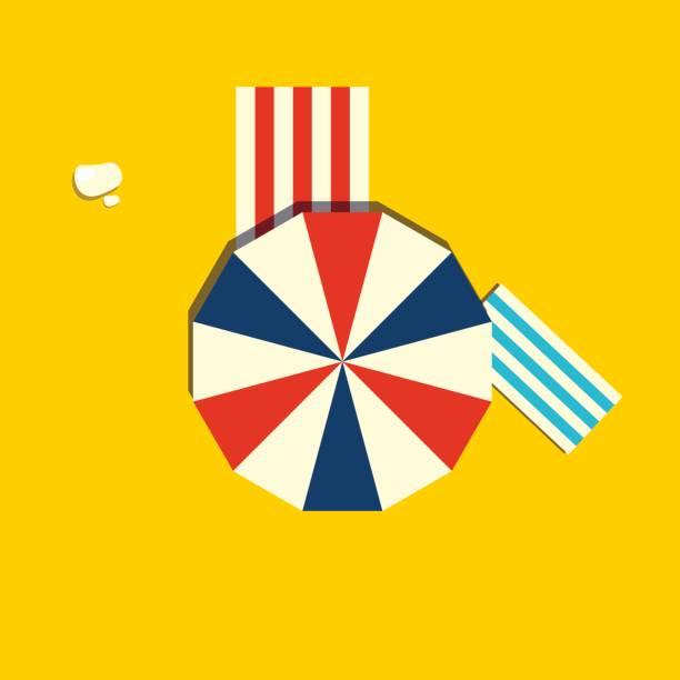 Beach parasol or sun umbrella icon. Top view of a open vintage beach umbrella. vector art illustration
