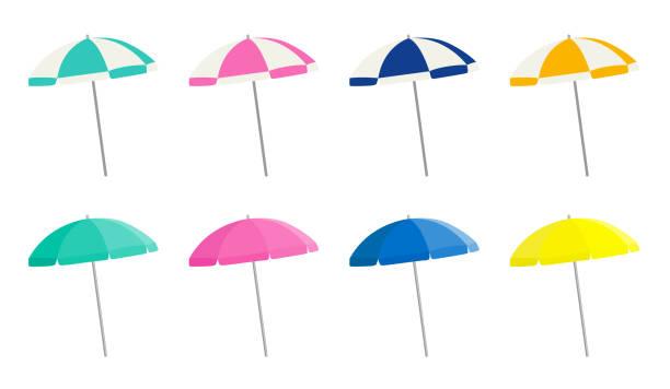 Beach parasol variation set vector art illustration