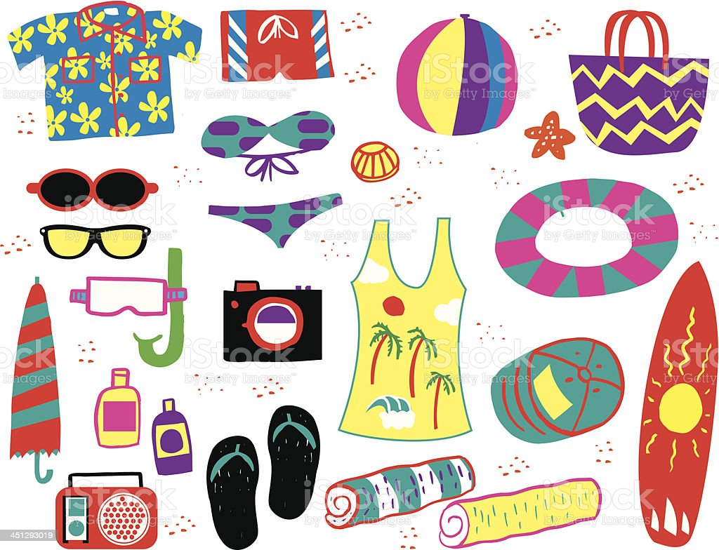 Beach Party Accessories royalty-free stock vector art