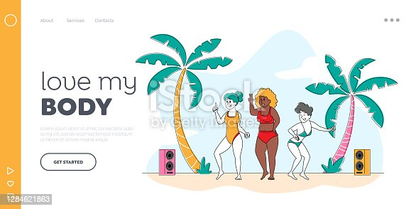 istock Beach Party, Body Positive Landing Page Template. Happy Slim and Overweight Girls Characters Dance and Relax on Seaside 1284621863