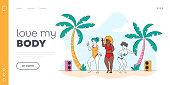 Beach Party, Body Positive Landing Page Template. Happy Slim and Overweight Multiracial Girls Characters Dance and Relax on Seaside. Summer Time Active Lifestyle. Linear People Vector Illustration