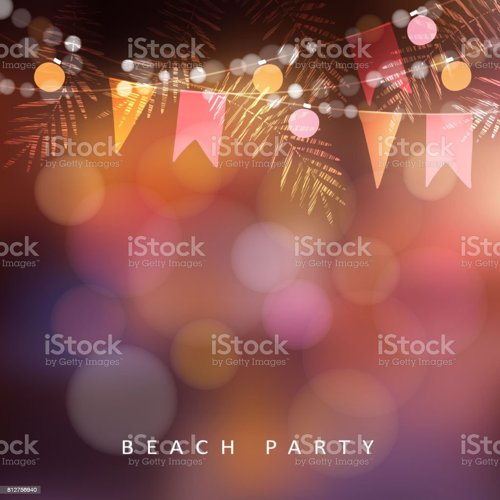 Beach party, Festa Junina or Midsummer greeting card, invitation. Garden party decoration, string of light bulbs, paper flags and palm leaves. Modern blurred background. Vector illustration vector art illustration