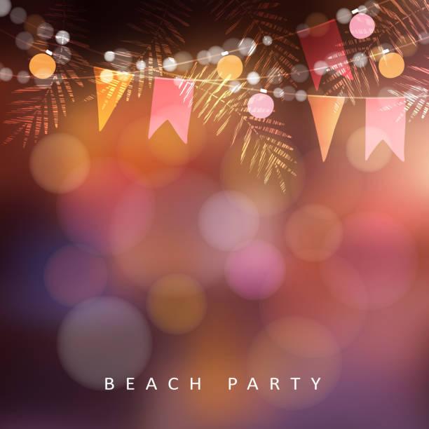 ilustraciones, imágenes clip art, dibujos animados e iconos de stock de fiesta en la playa, tarjeta de felicitación de festa junina o solsticio de verano, invitación. decoración de la fiesta en el jardín, hojas de cadena de bombillas, banderas de papel y palma. moderno fondo borroso. ilustración de vector - fiesta en el jardín