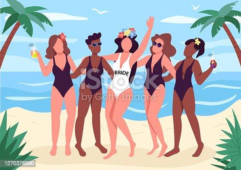 Ilustración vectorial de color plano de fiesta en la playa