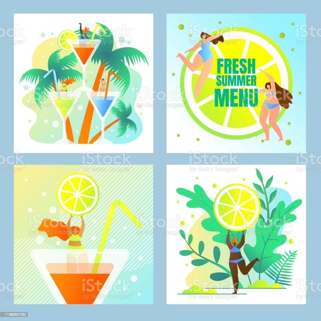 Beach Party, Fresh Summer Menu Set. Exotic Nature, Tropical...