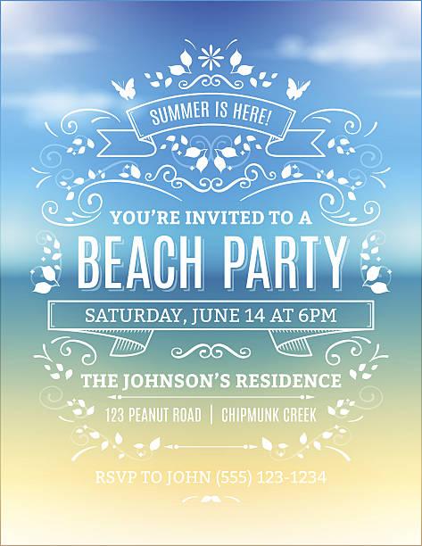 ビーチでのパーティの招待状 ベクターアートイラスト