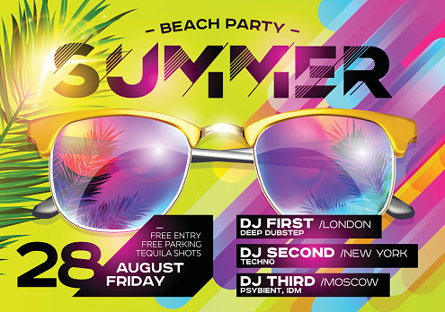 Beach Party Poster for Music Festival. Electronic Music Cover for Summer Fest or DJ Party Flyer.