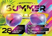 Beach Party Poster for Music Festival. Electronic Music Cover for Summer Fest or DJ Party Flyer. Bright Green Background with Sunglasses and Palm Leaf. Summer Vibes.