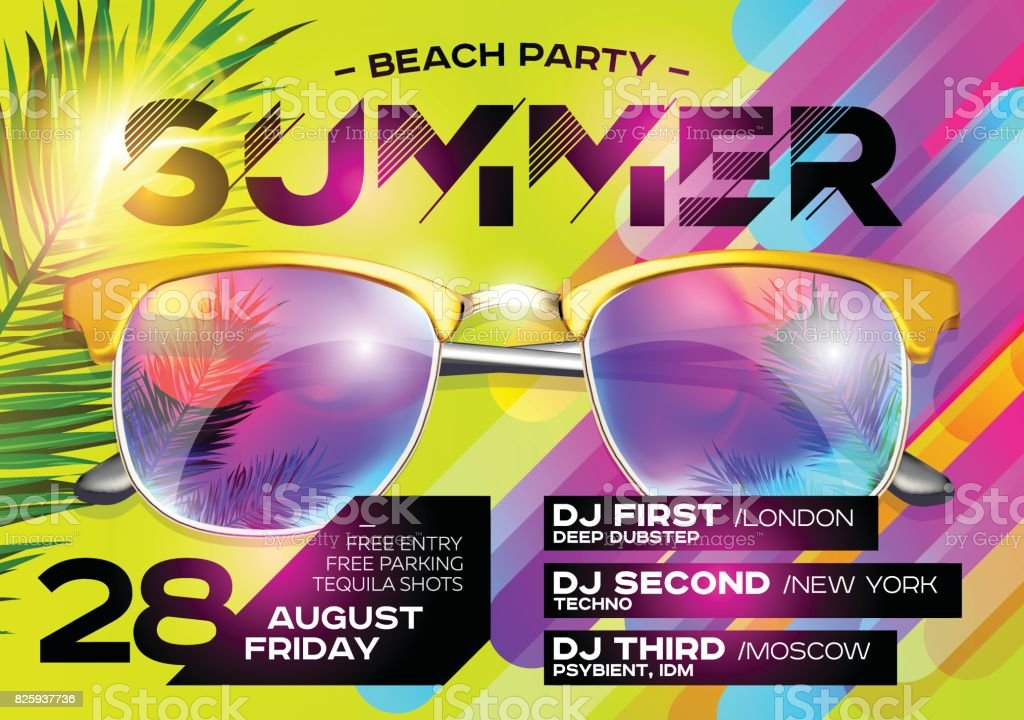 Beach Party Poster für Music Festival. Elektronische Musik Cover für Sommerfest oder DJ Party Flyer. – Vektorgrafik