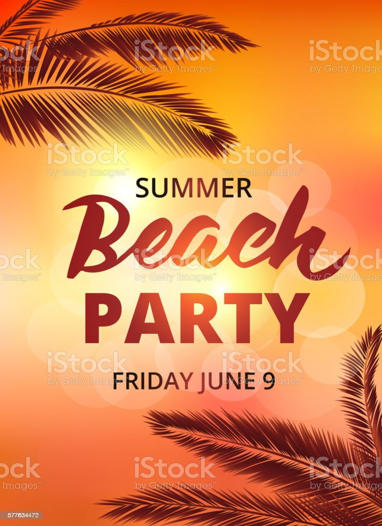 Beach party poster template with typographic elements – Vektorgrafik