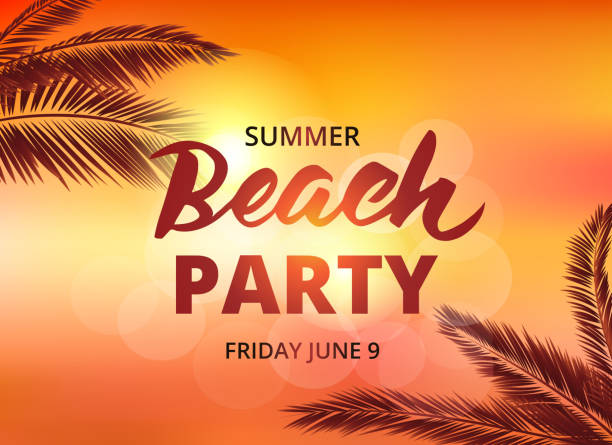 Beach party poster template with typographic elements ベクターアートイラスト