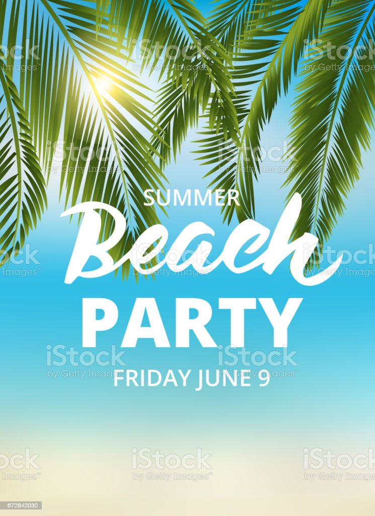Beach party poster template with typographic elements vector art illustration