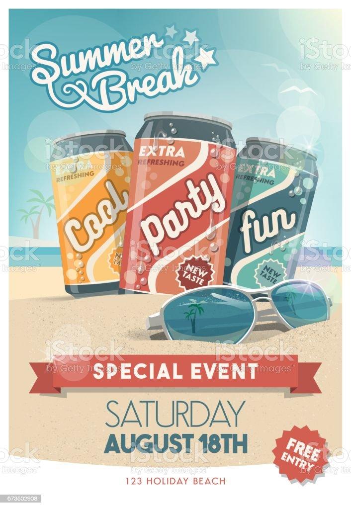 Beach party poster vector art illustration