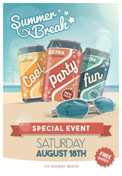 beach party plakat - markenbrillen stock-grafiken, -clipart, -cartoons und -symbole