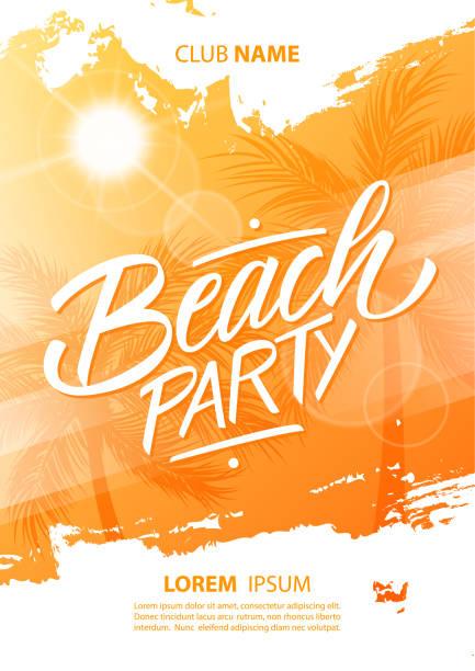 stockillustraties, clipart, cartoons en iconen met beach party poster met hand getrokken belettering, borstel lijn-, zon- en palm bomen. - strandfeest
