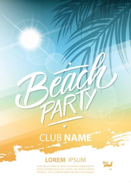 stockillustraties, clipart, cartoons en iconen met beach party poster met hand belettering en palm bladeren. - strandfeest
