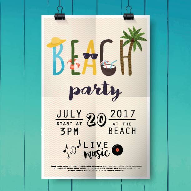 Beach party poster with palm leaf and lettering on wood texture background. Beach party poster with palm leaf and lettering on wood texture background. pool party stock illustrations