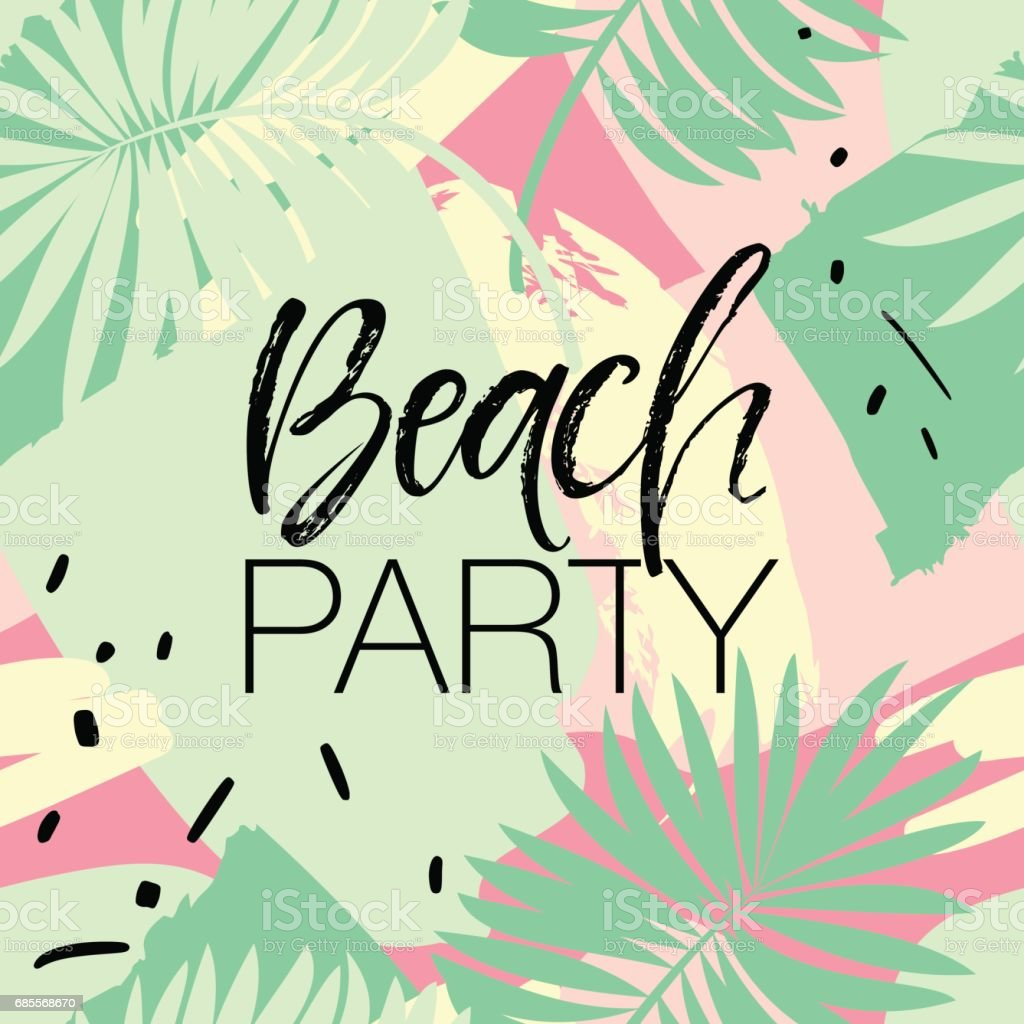 Beach Party Poster with Palm Tree - Vector Illustration vector art illustration