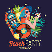 Beach party. Retro music. Vector illustration.