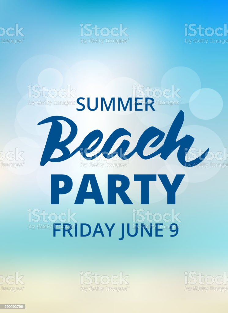 Beach party typography with hand drawn brush lettering vector art illustration