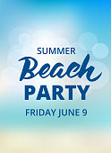 Beach party typography with hand drawn brush lettering