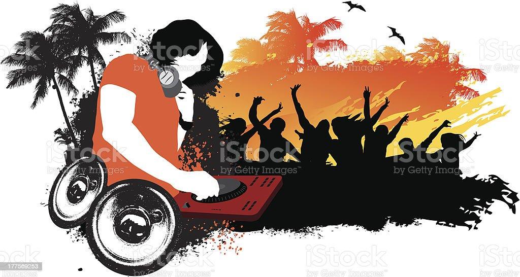 DJ Beach party vector art illustration