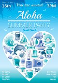 Beach party invitation in blue color