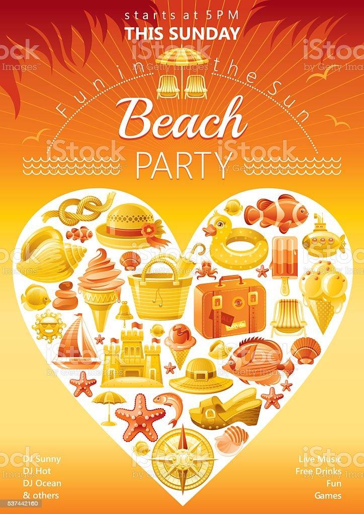 Beach party vector art illustration