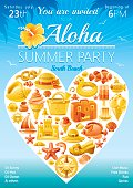 Beach party invitation in yellow color