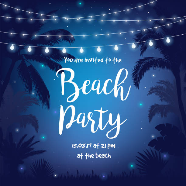 beach party vector illustration with beautiful night starry sky, palms, leaves and hanging party lights - summer background stock illustrations