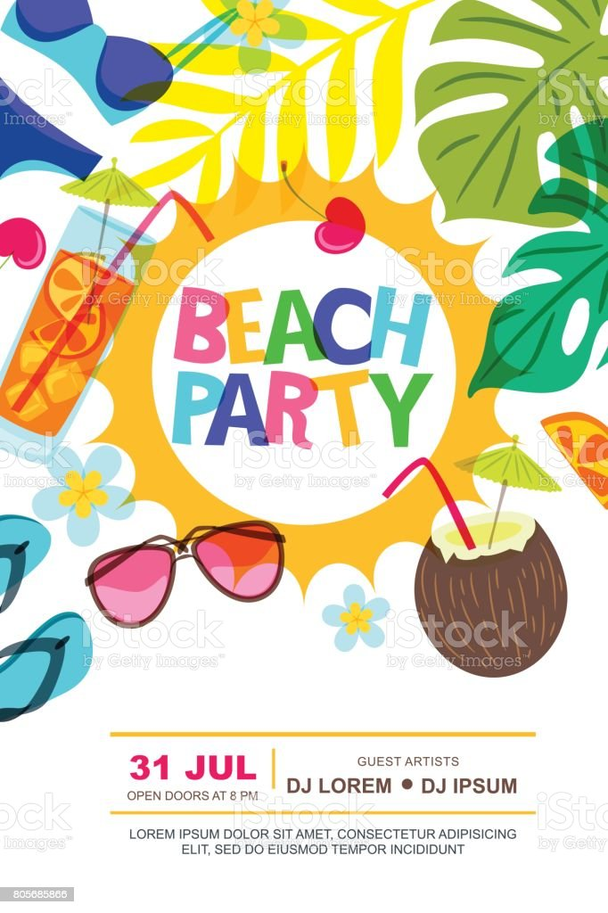 royalty free beach party clip art vector images illustrations rh istockphoto com beach party invitation clip art beach birthday party clip art