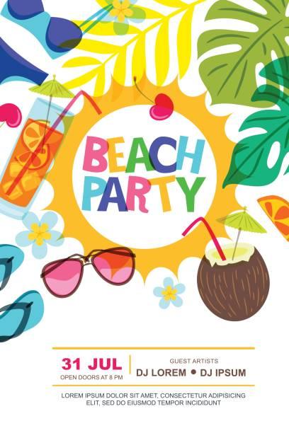 ビーチ パーティー ベクトル夏ポスター デザイン テンプレートです。太陽、ヤシの葉とカクテル落書きイラスト。 ベクターアートイラスト