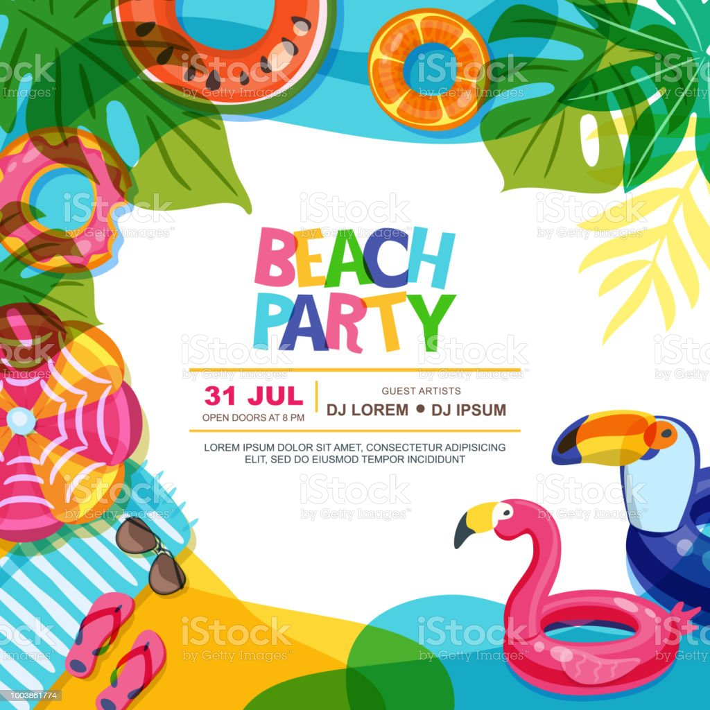 beach party vector summer poster design template swimming pool with