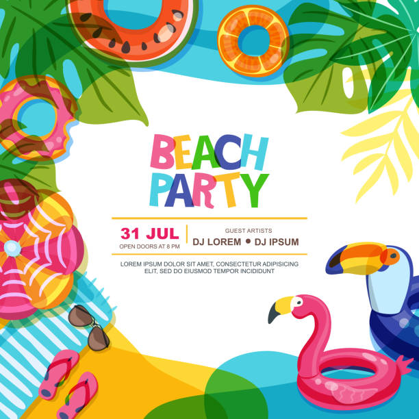 Beach party vector summer poster design template. Swimming pool with float rings doodle illustration. vector art illustration