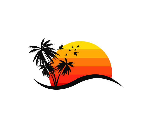 beach resort and summer theme vector design - zachód słońca stock illustrations