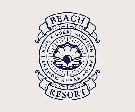 Beach resort emblem with shell.