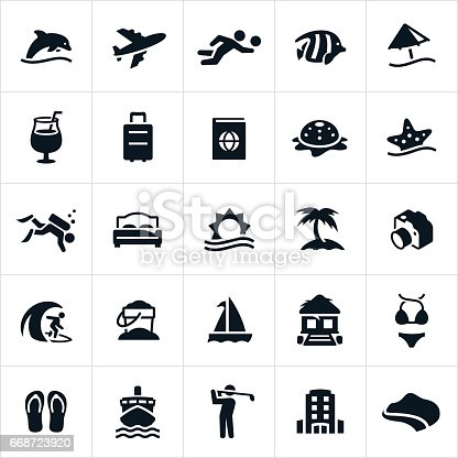 A set of tropical beach resort icons. The icons include sea life, dolphin, airfare, volleyball, tropical fish, beach umbrella, suitcase, passport, starfish, scuba diving, palm tree, hotel, beach hut, camera, surfing, sand pail, sail boat, swim suit, flip flops, cruise ship, golfing and coastline to name a few.