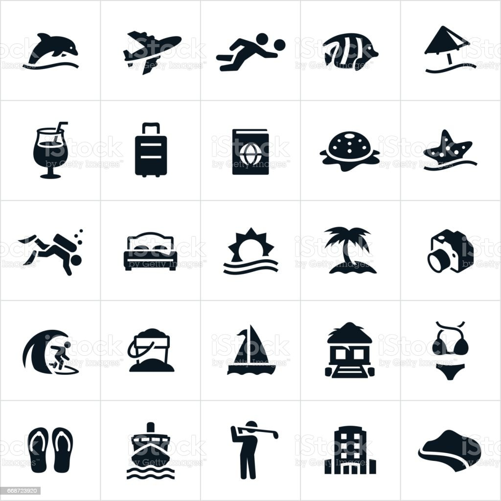 Beach Resort Icons vector art illustration