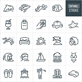 A set of beach resort icons that include editable strokes or outlines using the EPS vector file. The icons include a beach resort, tiki hut, hotel, dolphin, airplane, beach volleyball, tropical fish, tropical drink, luggage, passport, starfish, scuba diver, sunset, ocean, coast, palm tree, camera, surfer, sand bucket, sailboat, bathing suit, flip flops, cruise ship and golfer to name a few.
